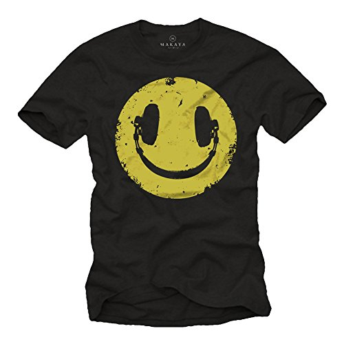 Camiseta Negra Hombre Hipster - Auriculares Hip Hop - Negro Tella M