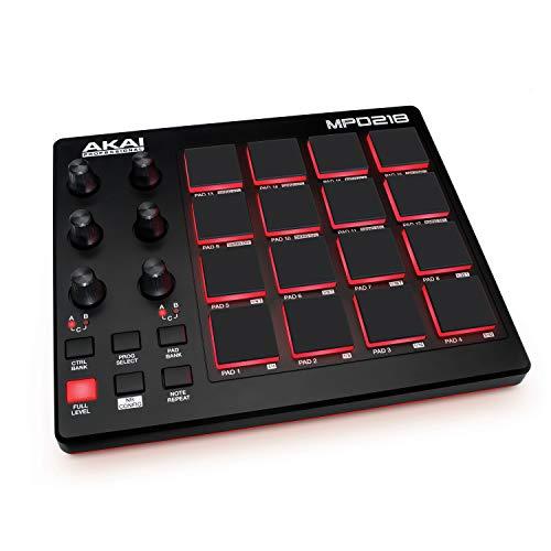AKAI Professional MPD218- Controlador de pads MIDI USB con 16 pads MPC y 6 knobs asignables para DAW, botones Note Repeat y Full Level, y software de producción