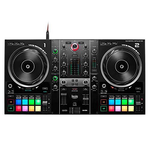 Hercules DJControl Inpulse 500: Controladora de DJ USB de 2 Decks para Serato DJ Lite y DJUCED (incluidos), Interfaz de Audio Integrado, 16 Pads RGB retroiluminados, Jog Wheels Grandes